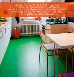 Green flooring in the kitchen.