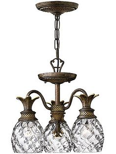 Charming Antique Pineapple Chandelier. Plantation 3 Light Chandelier With Clear  Optic Glass Shades