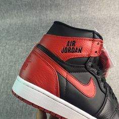 best sneakers 51ba9 48fa9 Air Jordan 1 Nike Logo Black red Jordan Basketball Shoes, Jordan Shoes,  Jordan 1