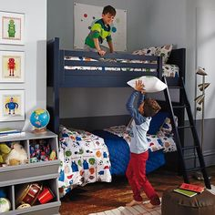 Uptown Bunk Bed (Midnight Blue)  | The Land of Nod