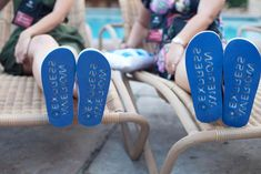 <p> The American Express name appeared on the top and bottom of the flip-flops given to each guest.</p>