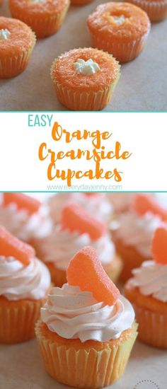 These easy orange creamsicle cupcakes are always a hit at parties. Start with a … - Cupcake Recipes Cake Mix Cupcakes, Cake Mix Desserts, Cake Mix Muffins, Cupcake Mix, Cake Mix Recipes, Cake Mix Cookies, Frosting Recipes, Cupcake Recipes, Cupcake Cakes