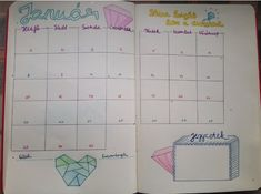 Once I tried bullet journaling, never took a look on other calendars. This is my January monthly spread with diamond theme.   -> Bujo, monthly spread, January, bullet journal, diamond, Hungary