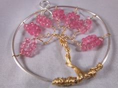Mystic Pink Topaz Tree of Life Pendant by EuphoricCharms on Etsy, $25.00 Tree Of Life Symbol, Tree Of Life Art, Tree Of Life Jewelry, Tree Of Life Necklace, Tree Of Life Pendant, Feminine Symbols, Handmade Shop, Handmade Gifts, Wire Trees