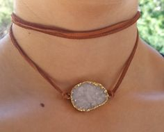 Druzy Leather Wrap  Choker Necklace and Wrap by JewelitCouture