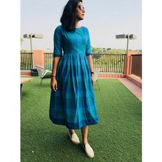 Blue Gingham Dress Source by sonalpin dress Kalamkari Dresses, Ikkat Dresses, Long Gown Dress, Frock Dress, Frock Models, Gingham Dress, Blue Gingham, Casual Frocks, Simple Frocks
