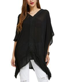 Black Lace-Trim Tie-Back Cape-Sleeve Sidetail Tunic - Women & Plus Tie Backs, Lace Trim, Cape, Cover Up, Ruffle Blouse, Tunic, High Point, Sleeves, How To Wear