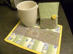 Mug Rug and Tea Wallet! (made using my 1+1=1 pattern: https://www.etsy.com/listing/60513529/1-plus-1-is-one-food-math-hand)