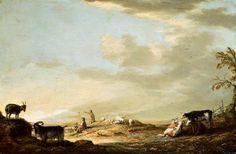 Albert Cuyp - Landschap met vee en figuren