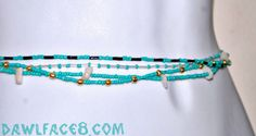 Turquoise Custom Fit Belly / Waist Beads The  Mulan by dawlface8 ❤ This Listing is for one set of lovely custom fit belly beads from the Mulan Collection!  Choose from these four beautiful earthy designs, all boldly themed with one of the most entrancing colors of the world; Turquoise.  Show off your magnificent curves with a fantastic set of Belly Beads!  ❤ Custom Sizing ! We will create your perfect fit! ❤ This versatile piece can be used as necklace, bracelet, anklet etc.