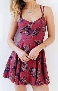 Red Spaghetti Strap Florals Chiffon Dress -SheIn(Sheinside)