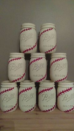 6 Baseball Themed Ball Mason Jars. Perfect by PrettyInPinkChalk