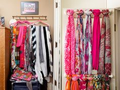 How to organize scarves quickly & easily...paint  & mount towel bars inside closet doors. So pretty!