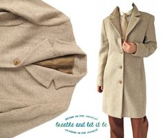 Vintage Oatmeal Herringbone Wool Coat  Size by BreatheandLetItBe