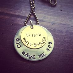 Hand Stamped Aluminum and Gold Necklace by PrettyLittleThingsKB, $20.00