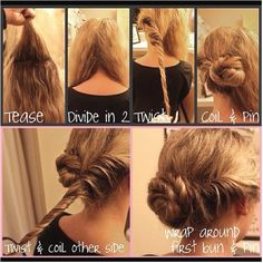 So easy! 1. Tease 2. Divide in two 3. Twist 4. Coil & Pin 5. Twist & Coil other side 6. Wrap around first bun...