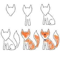 Картинки по запросу как рисовать лису поэтапно для детей
