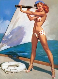 1940s Pin-Up Girl Ship Ahoy Boat Ocean Seashore Picture Poster Print Art Pin Up