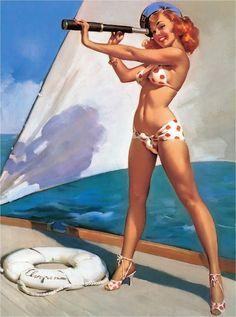 1940s Pin-Up Girl Ship Ahoy Boat Ocean Seashore Picture Poster Print Art Pin Up