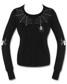 Hell Bunny Spider Web Tattoo Black White Goth Punk Rockabilly Pinup Cardigan Top