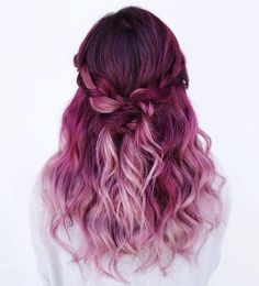Beauty: Fantasy Unicorn Purple Violet Red Cherry Pink yellow Bright Hair Colour Color Coloured Colored Fire Style curls haircut lilac lavender short long mermaid blue green teal orange hippy boho ombr