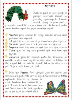 Historia de oruga hambrienta Maestra de azafrán #azafran #hambrienta #historia #maestra #oruga Preschool Education, Preschool Activities, Learn Turkish, English Reading, Hungry Caterpillar, Dramatic Play, Teaching English, Pre School, Elementary Schools