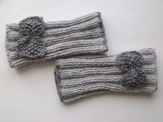 Grey Warm Fingerless Gloves - Wrist Warmers-Ready For Shipping Fingerless Gloves Knitted, Knitted Slippers, Crochet Mittens Free Pattern, Crochet Stitches, Knitted Owl, Hand Gloves, Wrist Warmers, Knitting Accessories, Hand Knitting