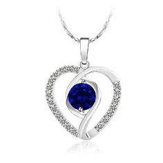 Mother's Jewelry - In My Heart Crystal Silver-Blue Pendant