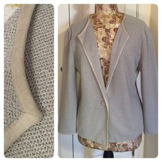 St. John knit sweater Pretty and classic!  High end St. John knit gray sweater with leather piping. Perfect to throw on for a chilly day or restaurant. Good condition. St. John Sweaters Cardigans