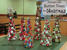 Button Christmas Trees featuring retired Stampin Up! buttons and styrofoam cones by Patty Bennett, Joy and Roxy Diy Christmas Baubles, Christmas Buttons, Cone Christmas Trees, Christmas Tree Crafts, Christmas Projects, Christmas Crafts, Christmas Decorations, Christmas Holiday, Christmas Ideas
