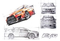 Mitsubishi Lancer EVO X Crayons 70x50cm drawn in 2012  by Ola Sołtysiak