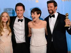 """Les Mis"" stars Amanda Seyfried, Eddie Redmayne, Anne Hathaway and Hugh Jackman at the 2013 Golden Globes"
