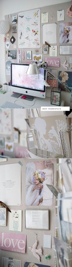 I love this gorgeous inspiration board for a craft / art studio.