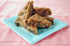 "Chocolate Chip Squares - Long before ""Blondies"",  my mother (who always burned regular chocolate chip cookies) would put the dough in a 9 x 13 and make the best ""Chocolate Chip Squares""!  She also found out that baking one pan made for less heat in a non-air conditioned house."