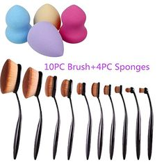OVERMAL 10PCSet Toothbrush Eyebrow Foundation Eyeliner Lip Oval Brushes4pcs Pro Beauty Flawless Makeup Blender Foundation Puff Shape Sponges * Details can be found by clicking on the image.