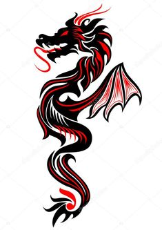 Black and red tribal dragon tattoo vector illustration - buy this image with . - Black and red tribal dragon tattoo vector illustration – buy this image with … – tattoos - Dragon Tattoo Vector, Red Dragon Tattoo, Tribal Dragon Tattoos, Dragon Tattoos For Men, Chinese Dragon Tattoos, Dragon Tattoo Designs, Tribal Tattoo Designs, Tattoos For Guys, Geometric Tattoos