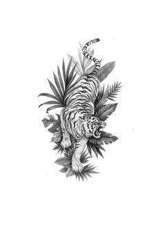 Fun twist in a traditional concept Mini Tattoos, Leg Tattoos, Small Tattoos, Dragon Tattoos, Tiger Tattoo Sleeve, Sleeve Tattoos, Tiger Tattoo Back, Tattoo Outline, Grey Tattoo