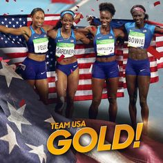 08.19.16 Team USA clocks the 2nd fastest time ever (41.01) in the 4x100 to win gold! #Rio2016