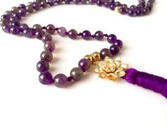 Mala beads, amethyst lotus mala, 108 mala beads, aventurine mala, lotus necklace, yoga jewelry, buddhist prayer beads, garnet mala necklace