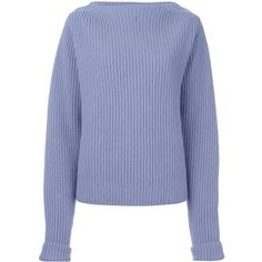 Forte Forte ribbed jumper (2.190 RON) ❤ liked on Polyvore featuring tops, sweaters, cashmere tops, jumper top, cashmere jumpers, blue jumper and forte forte