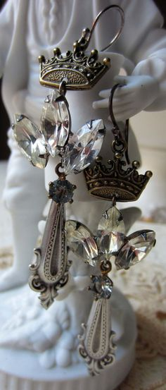 crowned spears  vintage assemblage earrings by TheFrenchCircus