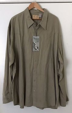 "Scully Mens Western Shirt 3XL ""The Westerns"" Khaki Long Sleeve Texas Ranger Star/Deputy Star Buttons, 100% Tencel. Shirt Is NWT In Excellent Condition. Size: 3XL. 