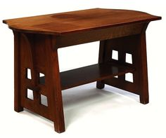 """Limbert library table, #153, turtle top form with a single blind drawer over slab sides with corbel supports and four square cut-outs to each side, original finish, sun fading to top, branded signature, 48""""w x 30""""d x 29.5""""h SOLD $3,750, Treadway Auction, May 6, 2007 All Wood Furniture, Arts And Crafts Furniture, Furniture Projects, Furniture Plans, Furniture Design, Craftsman Style Furniture, Craftsman Style Bungalow, Mission Style Furniture, American Craftsman"""