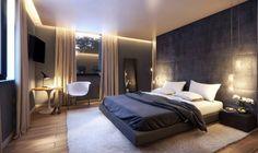Schlafzimmer mit Wandpaneelen aus Stoff, abgehängter Decke und LED-Beleuchtung