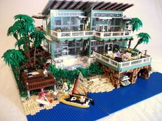 Beach House :: My LEGO creations. Living vicariously through Lego Lego Display, Lego Design, Lego City, Legos, Lego Lego, Lego Beach, Minecraft, Lego Boards, Amazing Lego Creations