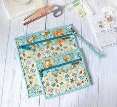 Fox on blue project set 8x8 Q snap needlework zippered project | Etsy