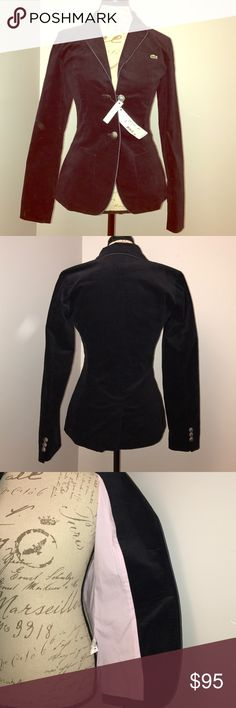 NWT Size 4 (36) Lacoste Midnight Blue Blazer NWT. Size 4 (European 36). Cotton/Lycra. Soft, velvet-like feel. Extra buttons included. Originally $275. Lacoste Jackets & Coats Blazers