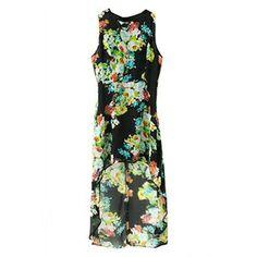 Asymmetric Floral Print Sleeveless Dress | pariscoming
