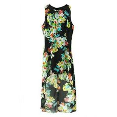 Asymmetric Floral Print Sleeveless Dress | pariscoming