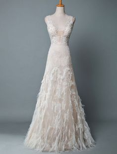 Simple Wedding Dress Lace A Line V Neck Sleeveless Beaded Floor Length Feather Bridal Gowns   Newarrivaldress.com Simple Lace Wedding Dress, Beautiful Bridal Dresses, Cheap Wedding Dress, Wedding Party Dresses, Wedding Frocks, New Arrival Dress, Trends, Ivoire, Simple Weddings